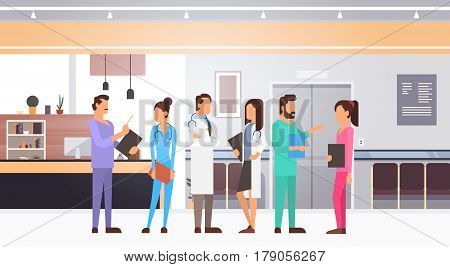 Group Medial Doctors Team Clinics Hospital Interior Flat Vector Illustration
