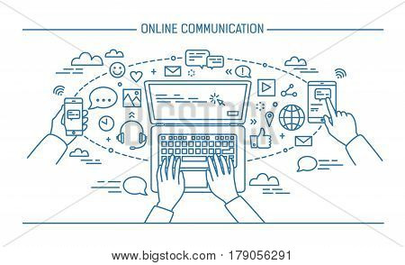online communication lineart banner. gadgets, information technology, communications, messaging, chat, media Contour flat style vector illustration