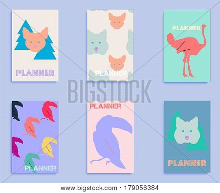 Set of covers with animal print includes fox, wolf, toucan and flamingo. Covers for planners, notebooks, books, postcards, cover magazines.