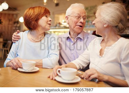 Cheerful buddies enjoying time and talking in cafe