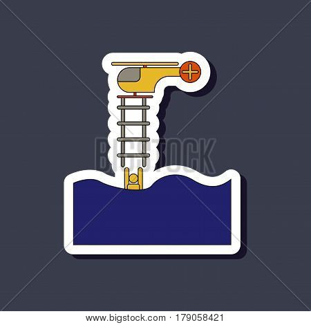 paper sticker on stylish background of people in water Helicopter