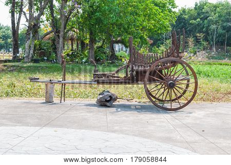 Ancient Thai Style Wooden Wagon Cart Used with Oxen for Carriage in Past (Unusable)
