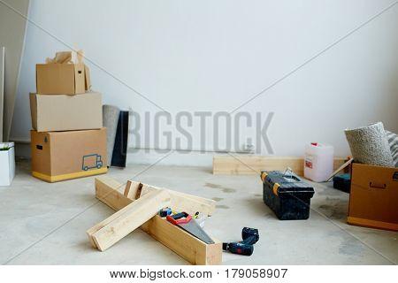 Diy supplies on the floor of room