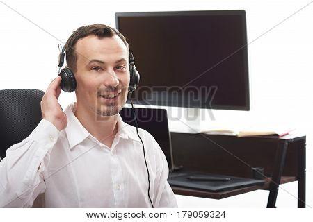 Man Talk On Headset In Office