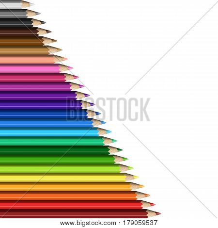 Sloping Line of Realistic Colorful Pencils on White Background. Texture of Colored Pencils for Presentation Template Cover.