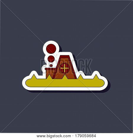 paper sticker on stylish background of flood house