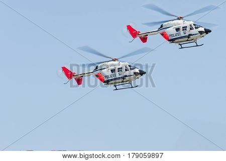 ESSEN NRW GERMANY - APRIL 11 2016: German police rescue helicopter landing to a police operation.