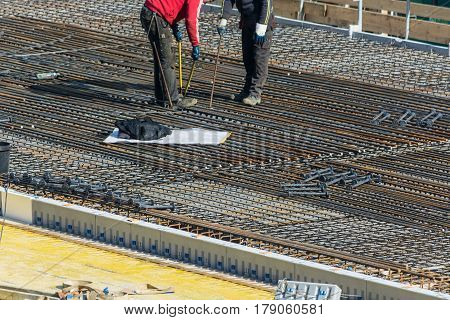 VELBERT NRW GERMANY - MARCH 17 2016: Preparation for concrete work construction of a residential and commercial building in Velbert City.