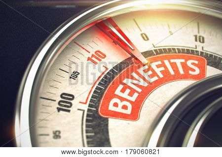 Business or Marketing Concept. 3D of a Rev Counter with Red Needle Pointing to the Caption Benefits. Business Concept. 3D Render.