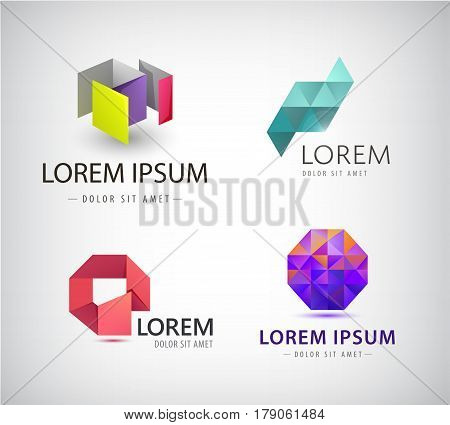 Vector set of abstract colorful ribbon logos, origami, paper 3d icons isolated. Identity for company, web site logos. Origami abstract 3d