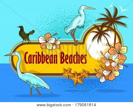 Poster image of caribbean beach with birds and flowers