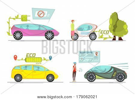 Colorful eco friendly electro cars 2x2 concept isolated on white background flat vector illustration