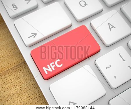 Service Concept: NFC on Modern Keyboard lying on Wood Background. Online Service Concept: NFC on the Modern Laptop Keyboard Background. 3D Illustration.