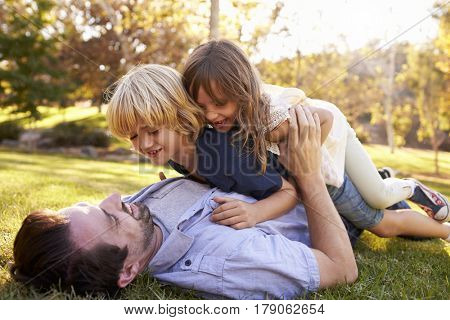 Children Jumping On Father In Park