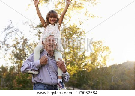 Grandfather Giving Granddaughter A Shoulder Ride In Park