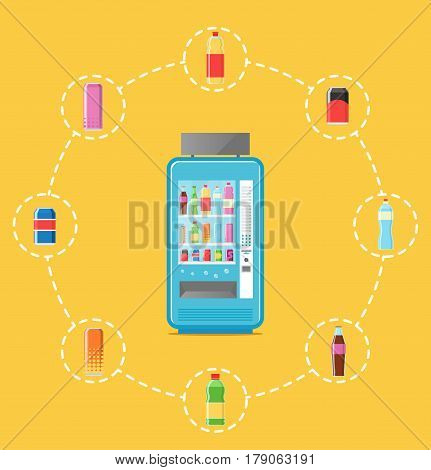Automatic vending machine infographics vector illustration. Cold drink can, cola or soda bottle, packaging beverage retail. Automatic seller front view with full shelves advertisement poster.
