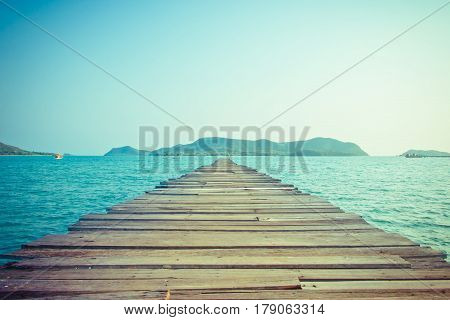 Seascape Old wooden Bridge in the sea