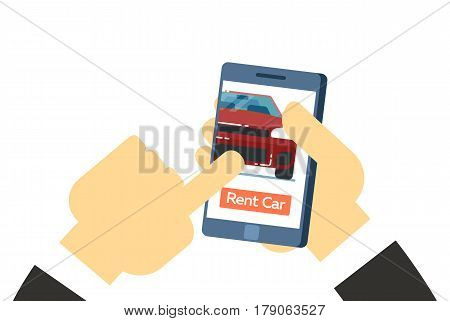 Online rent car service conceptual icon isolated on white background vector illustration. Car for rent symbol, online pre order renting car in flat design.