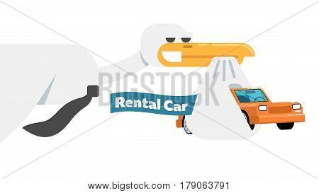 Rental business conceptual icon with stork isolated on white background vector illustration. Car for rent symbol, renting car service in flat design.