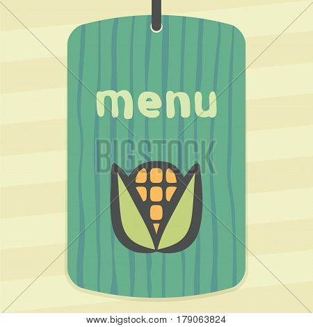 Vector outline ear of corn vegetable food icon on label with hand drawn striped background. Elements for mobile concepts and web apps. Modern infographic logo and pictogram.