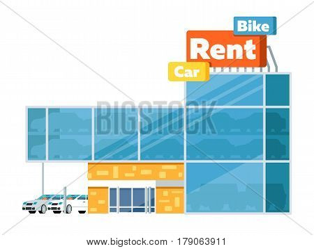 Rental business conceptual icon with car showroom isolated on white background vector illustration. Car for rent symbol, renting car service in flat design.