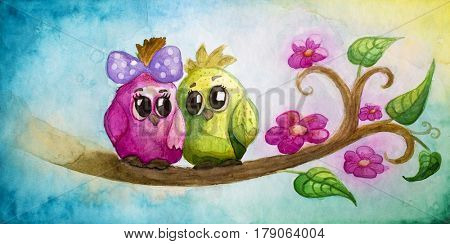 Funny colorful birds on a tree