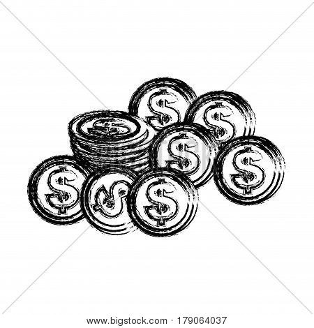 silhouette coins dolar currency, vector illustration design