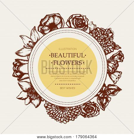 Beautiful Flowers - monochromatic vector hand drawn round banner with copyspace. Realistic rose, lily of the valley, tulip, daisy, iris, lily, chrysanthemum, carnation, poppy, narcissus.