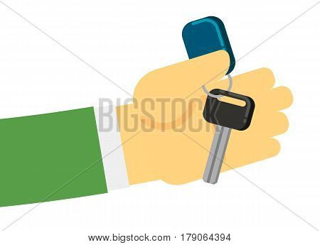 Rent or sale car dealer service conceptual icon with human hand and auto key isolated on white background vector illustration. Auto business, car renting in flat design.