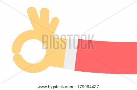 Ok hand gesture isolated on white background vector illustration. Human hand emotion sign in flat design.
