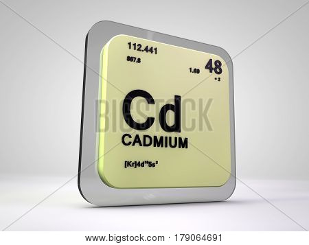 Cadmium - Cd - chemical element periodic table 3d render
