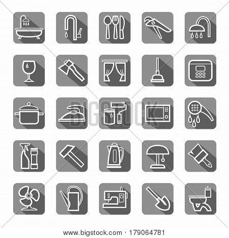 Household goods, tools, appliances, icons, flat, vector.  The white contour drawings on gray background with shadow. Vector clip art.