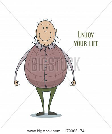 Hand drawn vector illustration of a funny cute smiling man in a violescent waistcoat with curly beard and thin hair, lettering enjoy your life