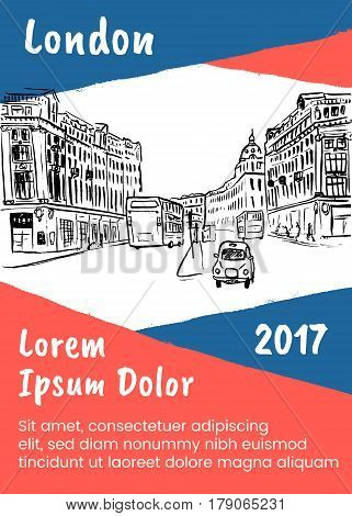 Brochure template with sketch of Regent street in London, United Kingdom