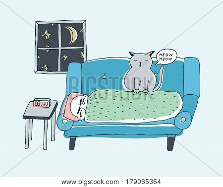The cat wakes the owner, meowing at night, Cute hand drawn doodle illustration.