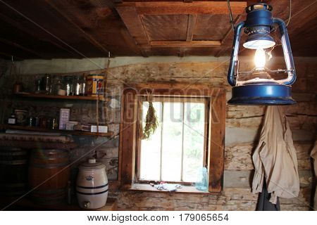 Vintage lamp in a farmer's house