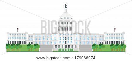 Capitol House Washington DC USA. Isolated on white background vector illustration.