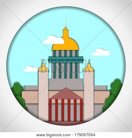 Paper applique style Card with application of St. Isaac Cathedral, St. Petersburg. Postcard.Vector illustration.