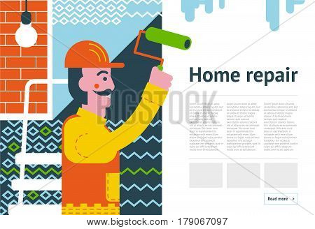 Renovation background concept. Repairman redecorating in room. Smiling worker making face-lift in flat or apartment. Paint decoration banner. Home improvement vector illustration.