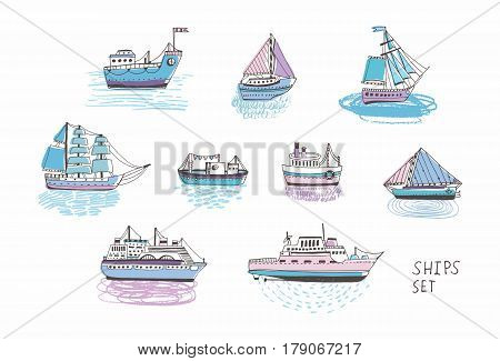 Set of different isolated doodle ships, yachts, boats, sailing craft, sailboat, nautical vessel, Sea transport collection. Hand drawn illustration.