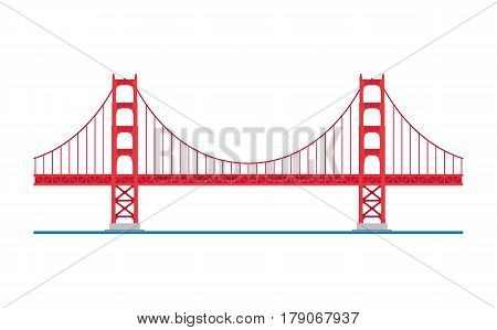 Golden Gate Bridge San Francisco USA. Isolated on white background vector illustration.