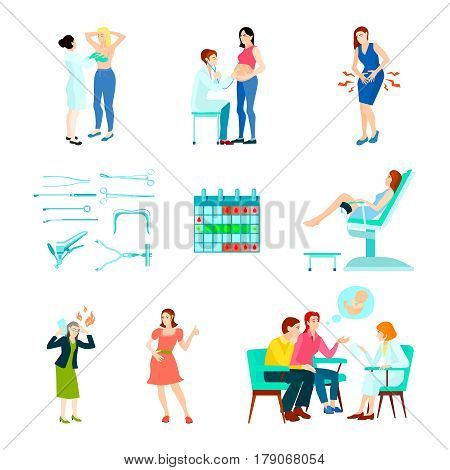 Colored flat and isolated gynecologist gynecology icon set with woman at the doctors reception vector illustration