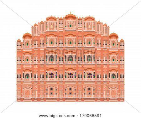 Hawa Mahal Jaipur India. Isolated on white background vector illustration.