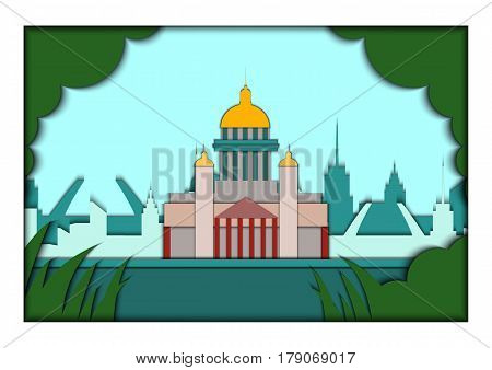 Paper applique style illustration. Card with application Saint Petersburg ponorama St. Isaac's Cathedral.Postcard. Postcard