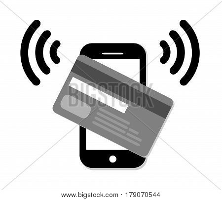 Mobile paypass.Credit Card Icon.NFC payment graph.Vector illustration of modern smartphone with processing of mobile payments from credit card.Pos terminal confirms the payment by debit credit card.