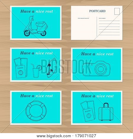 Travel card design template. Creative lifeline moped travel bag camera surfboard icons. Vector illustration