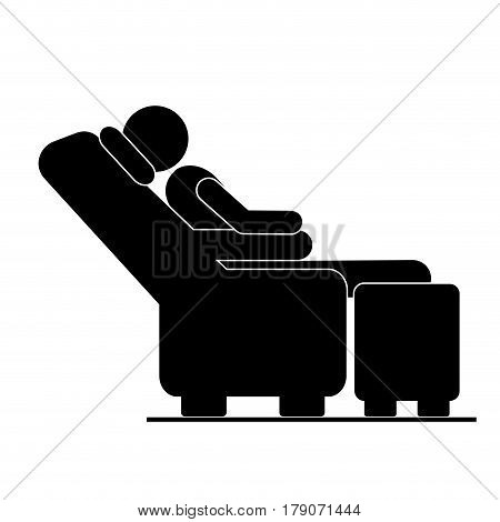 black silhouette pictogram male sitting in reclining chair vector illustration