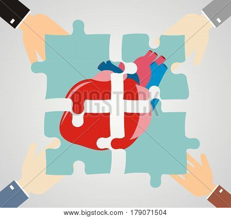 Hands putting heart puzzle pieces together. Cardiology and medicine concept. Flat design