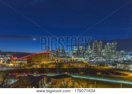 The city of Calgary at twilight in spring