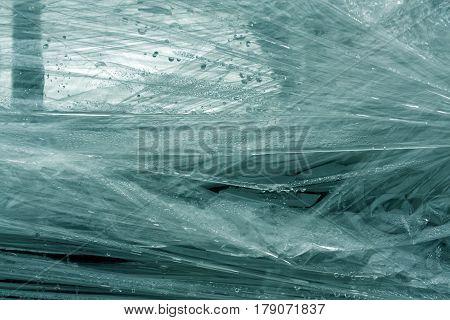 Cyan Color Plastic Wrap Surface.